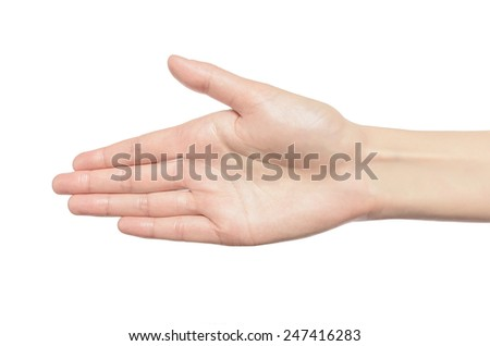 Hand the outstretched in greeting isolated on a white background - stock photo