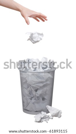 Hand throwing out paper - stock photo