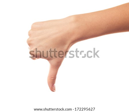 Hand thumb down isolated on white background - stock photo