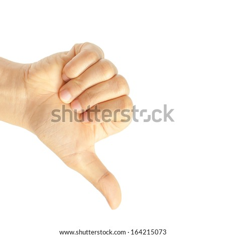 Hand thumb down isolated on white background. No sign by woman. Rejection symbol - stock photo