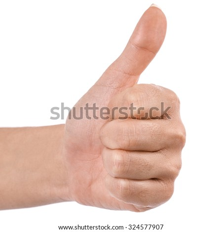 hand thumbs up Clipping Path Isolated on white background - stock photo
