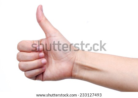hand thump up isolated on white background - stock photo