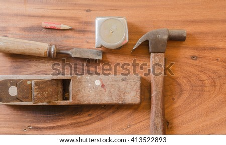 hand tool carpenter,Plane,Hammer,Screwdriver,Pencil,Measuring Tape,chisel - stock photo