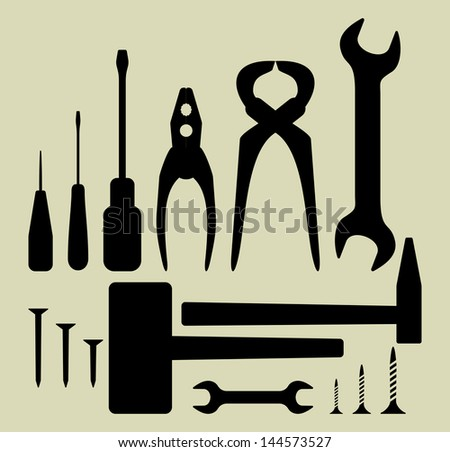 Hand tool silhouette set - stock photo