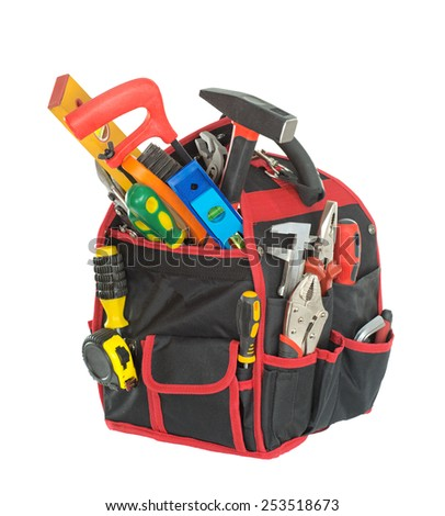 Hand tools built in tool bag. Isolated on white background. - stock photo
