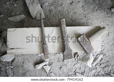 Hand tools of the stone worker. - stock photo