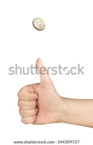 hand tossing one euro coin isolated  - stock photo