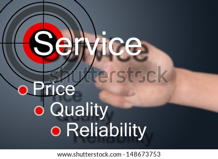 Hand touch on service concept  - stock photo