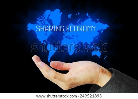 Hand touch sharing economy technology background - stock photo