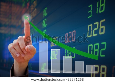 hand touching Arrow - stock photo