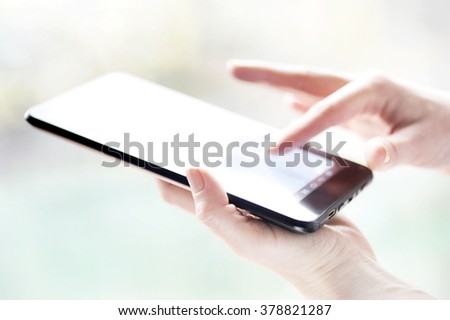 hand touching digital tablet social media at the office - stock photo