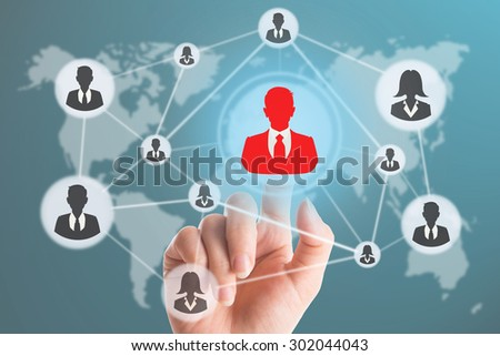 Hand touching for select people virtual interface with Human resources management concept - stock photo