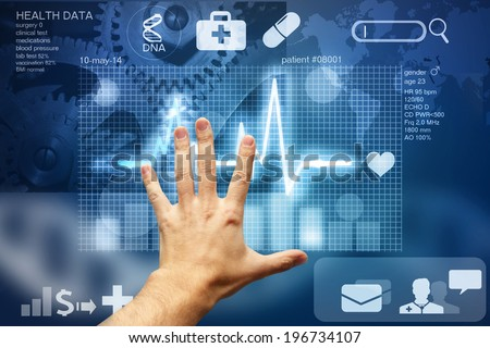 hand touching screen with medical data - stock photo