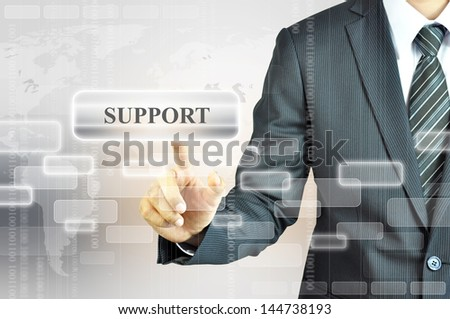 Hand touching SUPPORT sign - stock photo