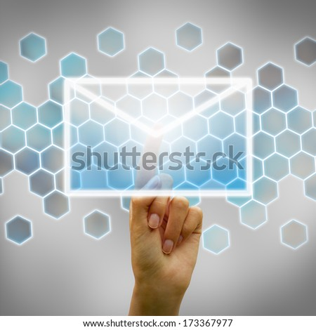 Hand touching tactile interface - stock photo