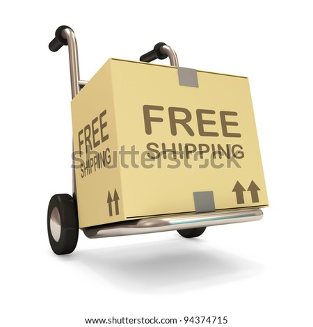 Hand truck with a box on white background (Free Shipping Concept) - stock photo