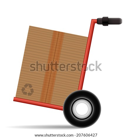 Hand Truck with a cardboard box on white background - stock photo