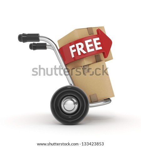 Hand Truck with cardboard box and free text-isolated - stock photo