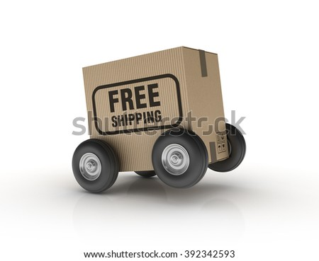 Hand Truck with Cardboard Box and Wheels - High Quality 3D Render   - stock photo