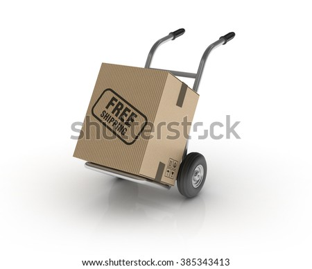 Hand Truck with FREE SHIPPING Cardboard Box on White Background - High Quality 3D Render   - stock photo