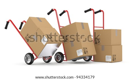 Hand trucks and cardboard boxes. 3D model isolated on white background - stock photo
