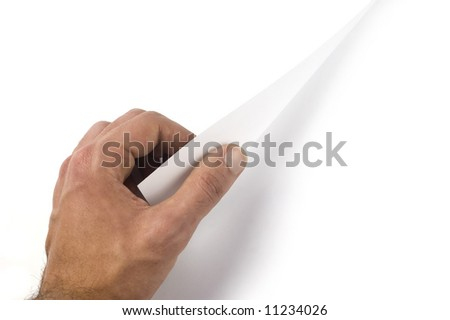 Hand turn over a page. White background in both of the pages to write it on whatever you want - stock photo