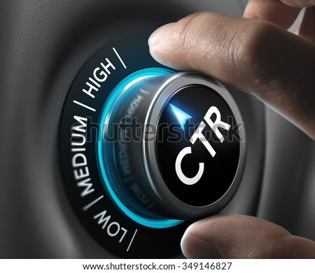 hand turning a ctr knob on the highest position. Concept image to illustrate a high click through rate during an advertising campaign. - stock photo