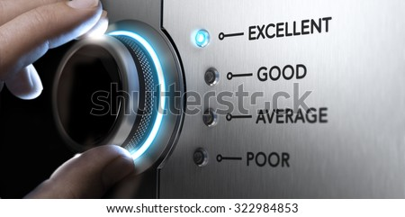 Hand turning a knob to the top position, blue light and blur effect. Concept image for excellent customer service. - stock photo