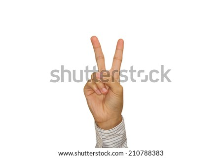 Hand two fingers up in the victory symbol  isolated background. - stock photo