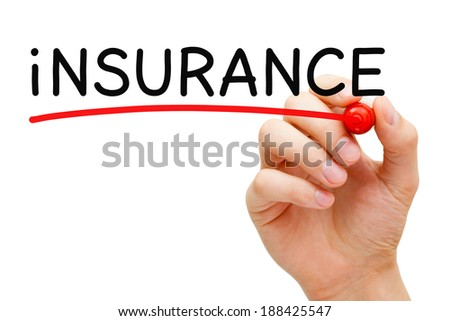 Hand underlining Insurance with red marker on transparent wipe board. - stock photo