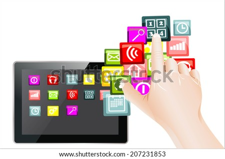 hand use touchscreen tablet pc with colorful application icons, isolated on white background - stock photo