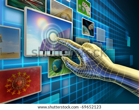 Hand using a touch-screen interface to browse through an image database. Digital illustration. - stock photo