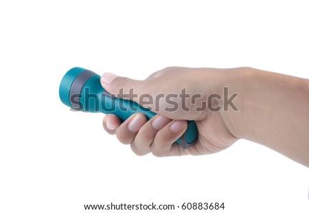 hand using flash light - stock photo