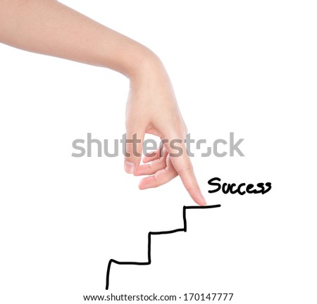Hand walking on drawing stairs - stock photo