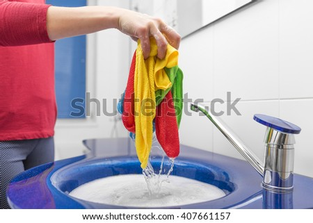 Hand wash with the sink a bathroom.. Close-up. - stock photo