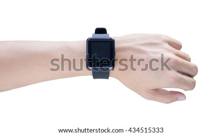 Hand wearing elegant smartwatch with black screen on isolated - stock photo