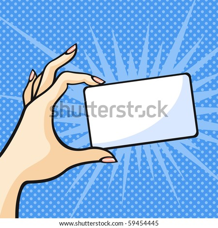 Hand with a card (raster version) - stock photo