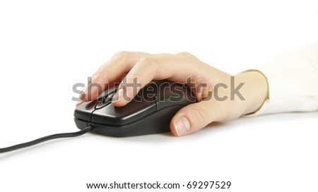 Hand with a computer mouse isolated on white - stock photo