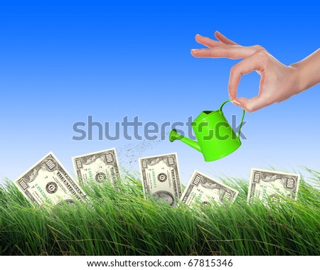 Hand with a small watering can watering green grass and shrubs of dollar bills - stock photo