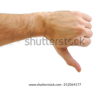 Hand with a thumb down gesture isolated on white background. Rejection symbol - stock photo