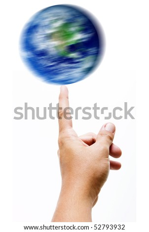 Hand with a turning world over white background - stock photo