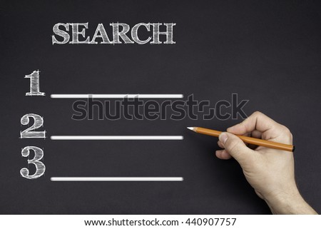 Hand with a white pencil writing: Search blank list - stock photo