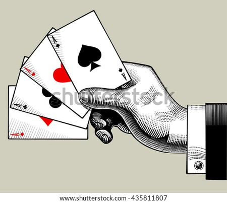 Hand with ace playing cards fan. Vintage engraving stylized drawing - stock photo