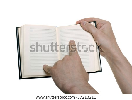hand with an orgonaizer isolated over white - stock photo