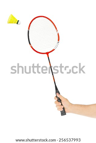 Hand with badminton racket isolated on white background - stock photo