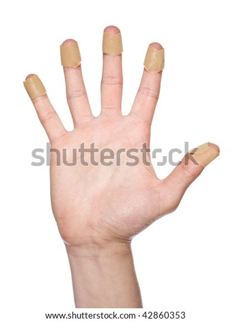 Hand with bandaid isolated on a w hite background - stock photo