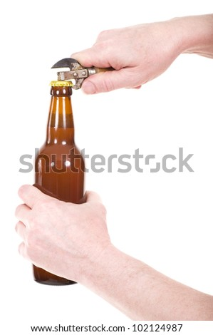 Hand with beer brown bottle isolated on a white - stock photo