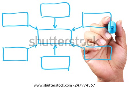 Hand with blue marker drawing Blank Chart on transparent white board. - stock photo