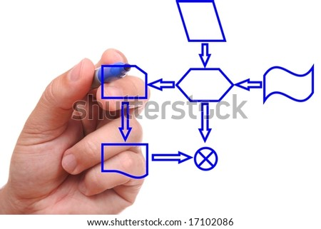 Hand with blue pen drawing a process diagram - stock photo