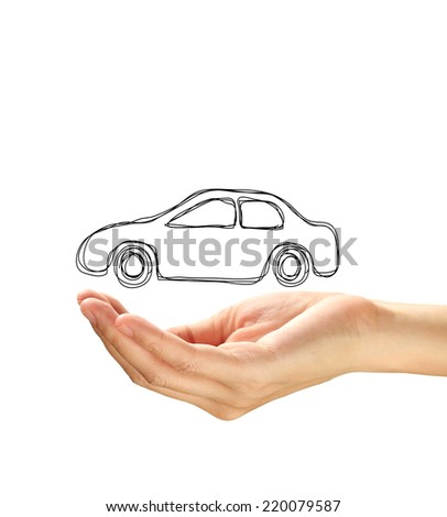 Hand with car isolated on white background. - stock photo